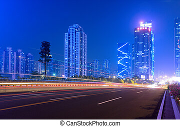 the light trails on the highway in shenzhen city,China