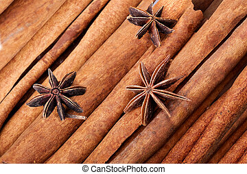 anice and cinnamon macro background - anice and cinnamon...