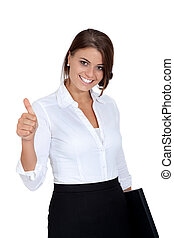 smiling young successful business woman isolated on white...
