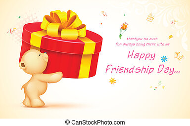 Happy Friendship Day - illustration of cute teddy bear...