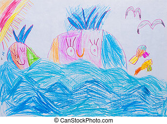 Children drawing in pencil, whale in ocean