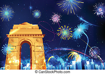 Celebration of India - illustration of firework display in...