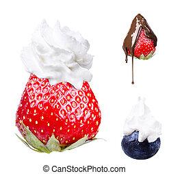 chicoteado, creme, gostoso, azul, berrie, moranguinho