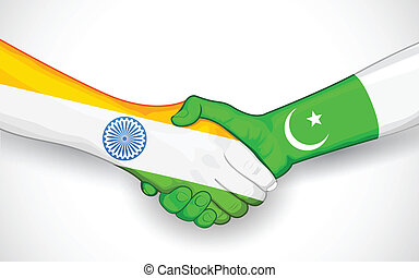 Handshake between India and Pakistan - illustration of...