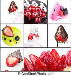 collage of tasty desserts closeup Blue berries, strawberry,...