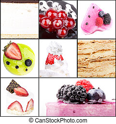 collage of tasty desserts closeup. Blue berries, strawberry,...