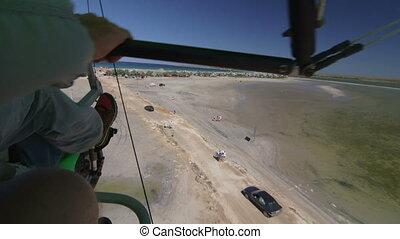 Motorized hang glider landing, Olenevka, Tarhankut, Crimea...