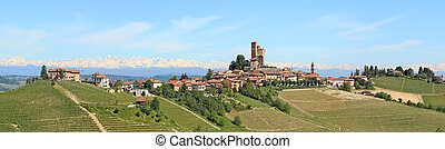 Small town on the hill in Piedmont, Italy. - Panorama of...