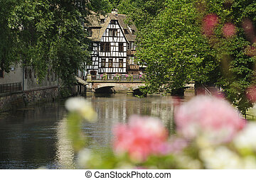 Wooden house on a canal in Strasbourg