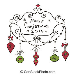Christmas background with frame, baubles and garlands