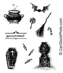 Halloween set - Collection of hand- drawn Halloween related...