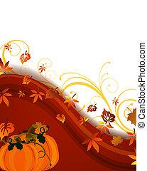 Autumnal design - Vector illustration of pumkins on a floral...
