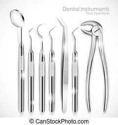 Dental Equipment - illustration of set of realistic dental...
