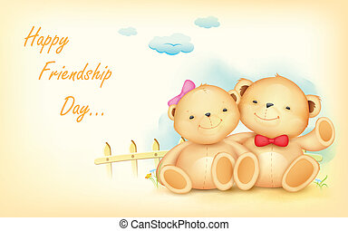 Happy Friendship Day - illustration of cute couple of teddy...