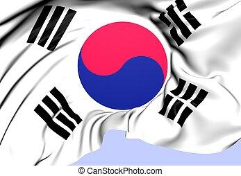 Flag of South Korea. Close Up.