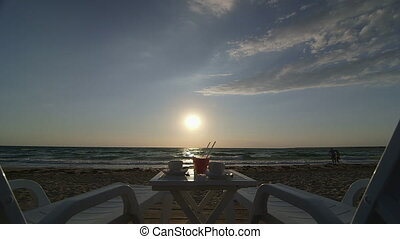 vacation on summer beach - Two lounge chair, table with...