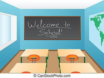 Classroom interior with a welcome greeting on the blackboard