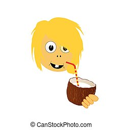 girl drink coconut milk vector part two