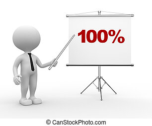 Percent 100% - 3d people - man, person with a flip chart....