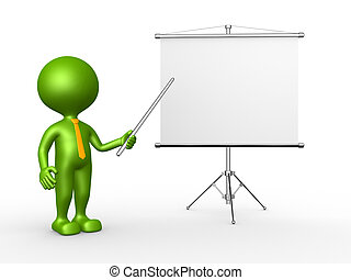 Businessman - 3d people - man, person with a flip chart