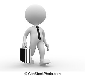 3d man with a briefcase - 3d people - man, person with a...