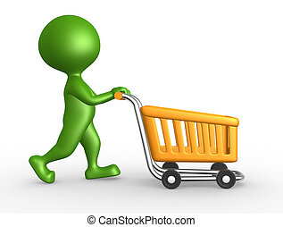 3d man with a shopping car - 3d people - man, person with a...