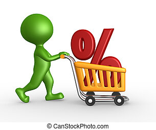 Shopping car and percent sign - 3d people - man, person with...