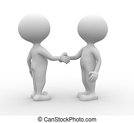 Partnership - handshake - 3d people - man, person...