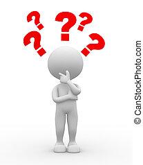 pergunta, marca, confusão