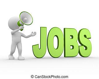 Megaphone and word JOBS