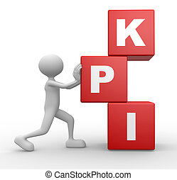 Cubes and KPI key performance indicator - 3d people - man,...
