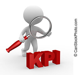 KPI - 3d people - man, person with a magnifying glass and...