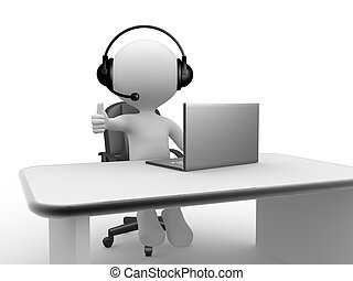 Headphones with Microphone and laptop - 3d people - man,...