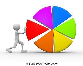 3d man and pie chart - 3d people - man and pie chart