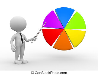 Pie chart - 3d people - man, person pointing pie chart
