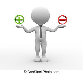 Sign plus or minus - 3d people - man, person and sign plus...