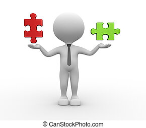 Puzzle - 3d people - man, person and pieces of puzzle