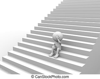 Depressing - 3d people - man, person with stairs. Depressing...