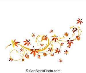 Autumnal design - Vector illustration of colorful leaves on...