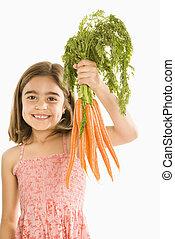niña, tenencia, Zanahorias