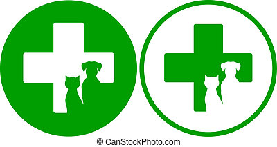 green veterinary icons - two green veterinary icons with...