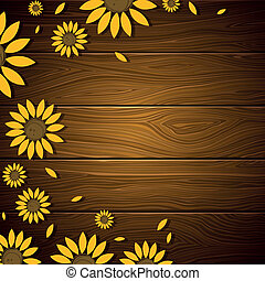 Vector Background with Sunflowers - Vector Illustration of a...