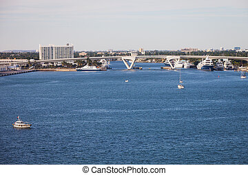 Fort Lauderdale Waterway with Drawbridge and Boat Traffic