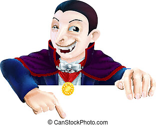 Cartoon Dracula Pointing Down - Cartoon Count Dracula...