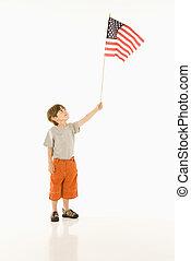 niño, norteamericano, tenencia, bandera