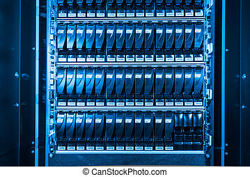 data center - close-up of hard drives in data center