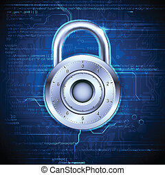 Data Security - illustration of data security concept with...