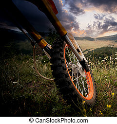 dirt bike details - dirt bike close-up details over the...