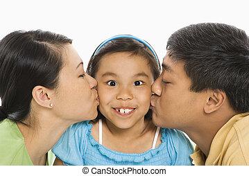 beijando, filha, pais