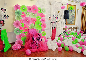 children's party - solemnly brightly decorated room and a...